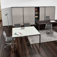 contemporary boardroom table wooden metal square zefiro