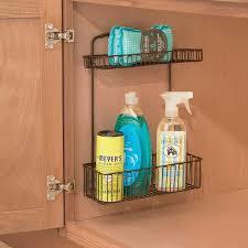 wall mounted kitchen storage cupboards 2 tier wall mount kitchen cabinet storage organizer basket