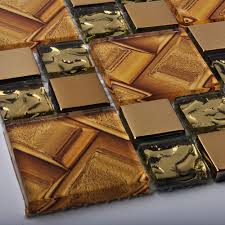 mirrored glass tile tan golden yellow inner brick pattern print