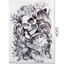 subaru legacy tattoo cool old clock death skull punk rose fake tattoo body arm sleeve