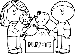 kids playing with puppets coloring page wecoloringpage
