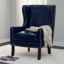 Swivel Wing Chair Design Ideas Navy Blue Wing Chair Wing Chair Upholstered In A Blue And White