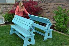 Free Plans For Picnic Table Bench Combo by Bench Great Convertible Picnic Table And Buildsomething With That