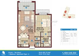 1 bedroom type a floor plan ansam yas island