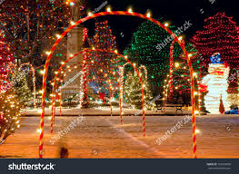 pathway candy cane arches leading brightly stock photo 105293930