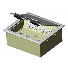 4 power stainless steel flush lid floor outlet box