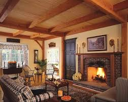 living room with red brick fireplace interior design