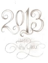 a very rough pencil sketch of my new year graphic calligraphy