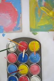 cardboard paintings exploring primary colors artbar