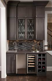 Glass Bar Cabinet Wet Bar Cabinets Dining Room Transitional With Dark Wood Flooring