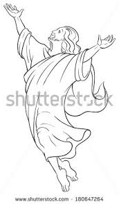 coloring page of jesus ascension miracles jesus ascension christian easter holiday stock vector