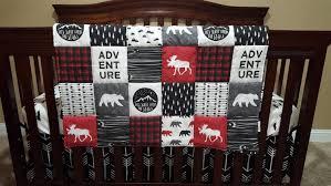 Black And White Crib Bedding For Boys Adventure Moose Boy Crib Bedding Moose Black Arrow
