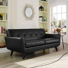 Contemporary Leather Loveseat Empire Modern Black Leather Loveseat Eurway Furniture