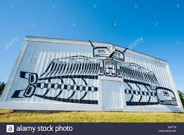 first nation haida native wall mural art artwork on exterior of first nation haida native wall mural art artwork on exterior of u mista cultural centre alert bay british columbia canada