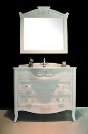 antique white bathroom vanity with distressed finish also capriole