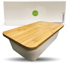 Countertop Cutting Board Bamboo Fiber Bread Box With Cutting Board Lid White Clean