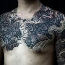 half sleeve to chest black and grey and 3
