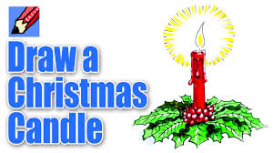 how to draw a christmas candle decoration youtube