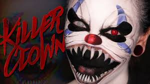 scary killer clown halloween makeup tutorial youtube