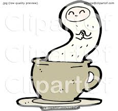 cartoon of a tan coffee mug and ghost 1 royalty free vector