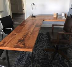 reclaimed wood l shaped desk l shaped desk reclaimed wood desk wood and steel desk