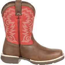 lil u0027 durango youth brown red square toe western boots
