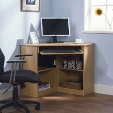 Small Corner Computer Desks Furniture Contemporary Minimalist Brown Wolid Wood Small Corner