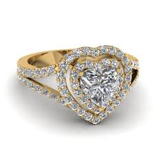 heart rings diamond images Heart diamond double halo engagement ring in 14k yellow gold jpg