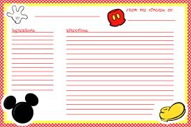 free printable recipe pages animating the princesses free printable mickey recipe cards