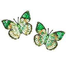 small butterfly iron on sequin applique green discount designer