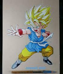 drawing kid goku color pencils dragonballz amino