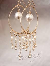 Chandelier Gold Earrings Bridal Chandelier Earrings Pearl Drop Gold Earrings Wire Wrapped