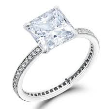 cz engagement ring micro pave solitaire princess cut cz engagement ring 925 sterling