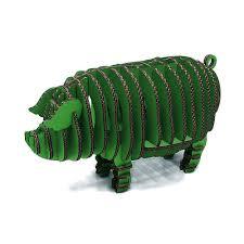 green 3d puzzle piggy toy model paper craft kids diy art