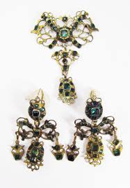 girandole earrings so rococo georgian silver gilt emerald paste 14k girandole