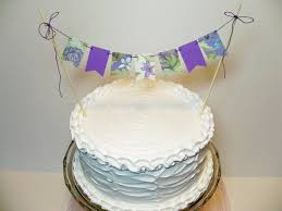 cake banner topper garden party cake banner floral bunting topper purple lavender
