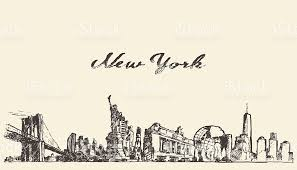 new york city skyline vector engraved drawn sketch stock vector