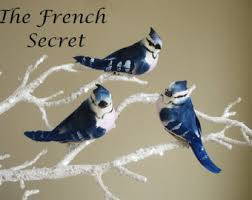 2 blue bird ornament decoration feather tree