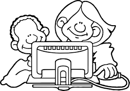 internet back playing computer games coloring page wecoloringpage