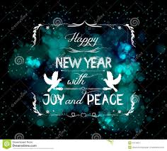 happy new year with joy and peace greeting card stock vector