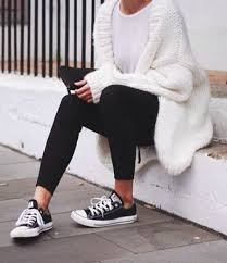 picture of chunky knit oversized white cardigan with black pants