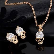 elegant necklace set images Skull earring and necklace set super shop stop jpg