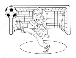 coloring page outline of a boy kicking a soccer ball u2014 stock