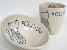 personalized bowl crafted personalized baby gift cat and scarf small bowl