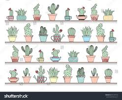 colorful background cute cactus set simple stock vector 447244150