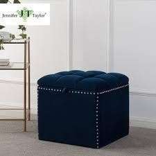 Navy Blue Storage Ottoman Modern Velvet Seating Storage Cube Ottoman Footstool With Rivet