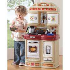 Pretend Kitchen Furniture by Step2 Coffee Time Kitchen Includes 21 Piece Cook Set Pink And