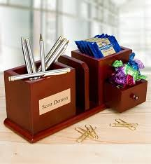 Personalized Desk Organizer Desktop Organizer With Engraved Plaque Personalized