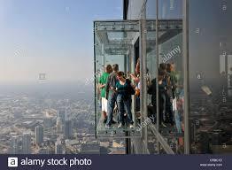 visitors on the 412 meter high observation deck skydeck willis