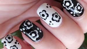easy black and white flowers nail art design tutorial youtube